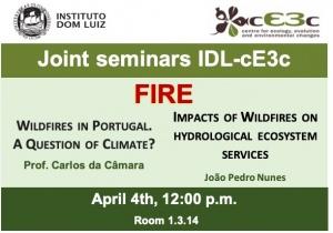"Joint Seminars IDL-cE3c: 4 abril, 12h, sob o tema ""FOGO"""