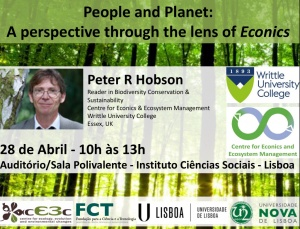 "Seminário ""People and Planet: A perspective through the lens of Econics"" - 28 abril, 10h-13h, ICS (organização cE3c)"