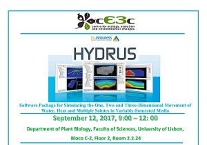 Hydrus workshop, organized by cE3c | September 12, 2017, 9h00-12h00, at FCUL