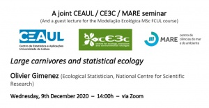 "Seminar ""Large carnivores and statistical ecology"" - December 9, 2020, at 2pm (Lisbon time)"