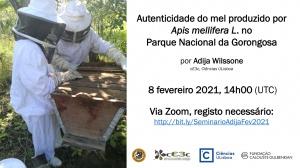 """Seminário """"Autenticidade do mel produzido por Apis mellifera L. no Parque Nacional da Gorongosa"""": 8 fevereiro 2021, 14h00, via Zoom"""
