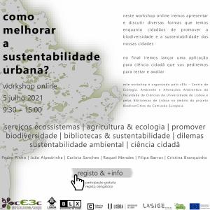 Como melhorar a sustentabilidade urbana? Workshop online a 5 julho 2021